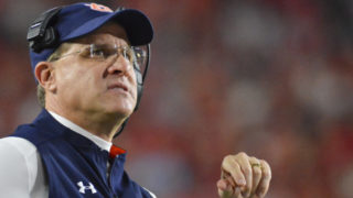 Oct 29, 2016; Oxford, MS, USA; Auburn Tigers head coach Gus Malzahn looks on during the first quarter of the game against the Mississippi Rebels at Vaught-Hemingway Stadium. Mandatory Credit: Matt Bush-USA TODAY Sports